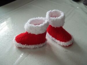 Image De Bebe En Pere Noel.Details About Slippers Boots Baby Santa Claus Handmade Knitted 0 3 Months Show Original Title