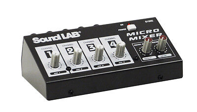 Speciale Sectie Soundlab Compact Portable 4 Channel Mono Dj Party Microphone Mixer With Effects