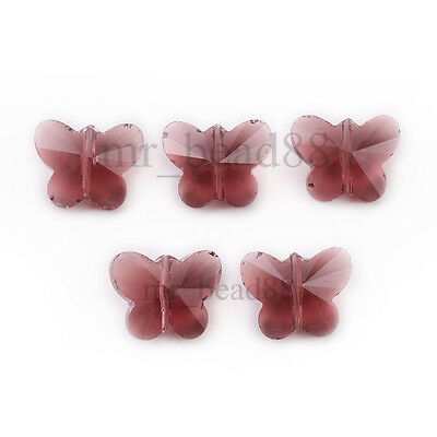 Wholesale Faceted Glass Crystal Butterfly Loose Spacer Beads Findings 14mm