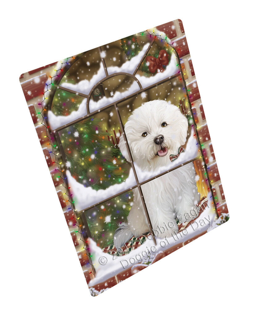 Please Come Home For Christmas Bichon Frise Dog Woven Throw Sherpa Blanket T247
