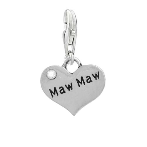 """/"""" Maw Maw/"""" Heart Dangling Clip on Lobster Claw Clasp Charm"""