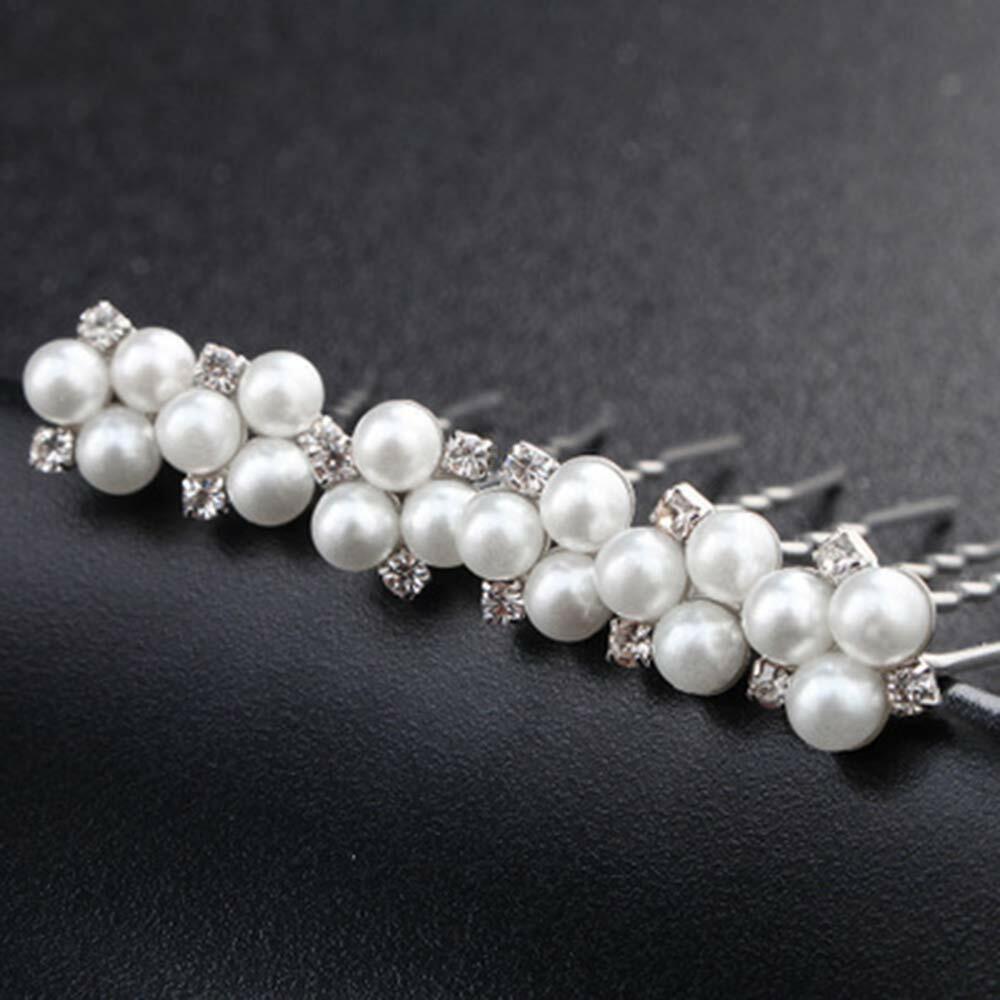 Bestyuan Jewelry Pearl & Diamond Silver Hairpins Set of Six Handmade Hairpins