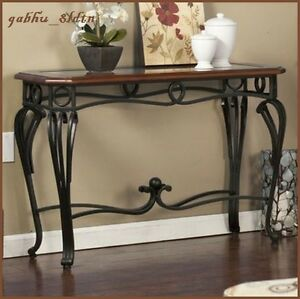 Glass Top Contemporary Wood Metal Console Accent Sofa Table Hallway
