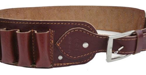 12 Cartridge belt Patronengürtel Rindleder Braun für 30 Schrotpatronen Kal