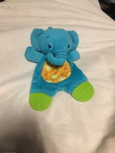 Bright-Starts-stelle-Tactical-Snuggle-Teether-Crinkle-Blu-Verde-Elefante-Giocattolo