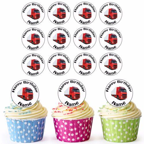 24 Personnalisé Pré-Découpé Camion HGV Comestible Cupcake Toppers Anniversaire Fils Garçons Homme