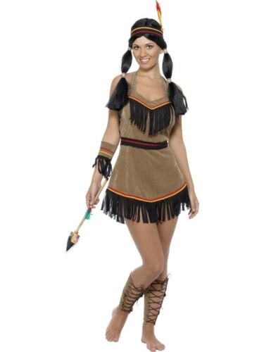 LADIES RED INDIAN SQUAW FANCY DRESS COSTUME WOMENS WILD WEST POCHAHONTAS OUTFIT