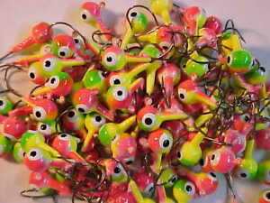 LEAD HEAD JIG HEADS  WALLEYE JIGS   WHITE PINK 50 NEW 1//4 OZ