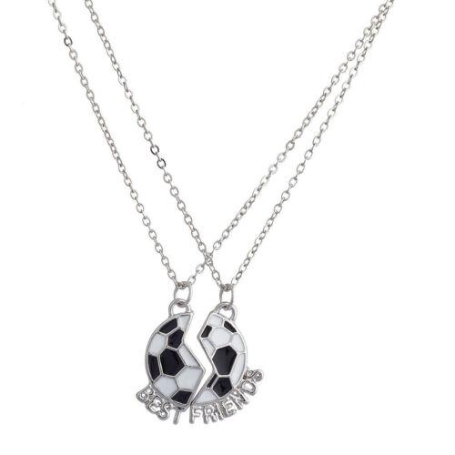 2pcs BFF Best Friends Forever Soccer Friendship Pendant Choker Necklace Chain
