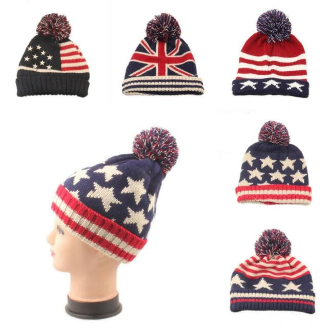 Winter Warm Womem Men Beanie US UK Flag Knit Beanie Hat With Pom Poms Skiing Cap