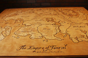 Hand Burned Map of Tamriel Coffee Table from Elder Scrolls - REDUCED ...