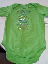 Baby short sleeve bodysuit 12-18-month new to do list green