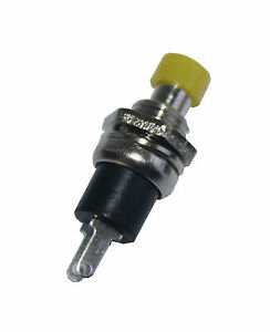 10-St-Miniatur-Drucktaster-Schliesser-METALL-1-pol-GELB-TOP-Qualitaet