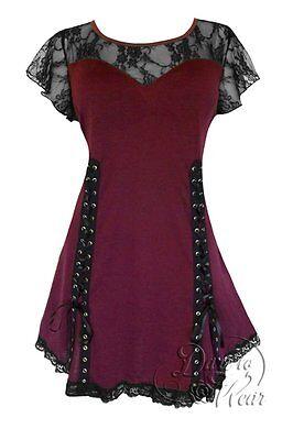 BURGUNDY Gothic Victorian ROXANNE Tie Back Top Dare to Wear Size 4XL, 4X,  24-26