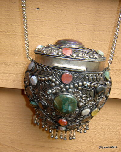 Velvet Purse Design metal Polished Victorian Filigree Ornate Stones Agate Silver jS5RqLA4c3