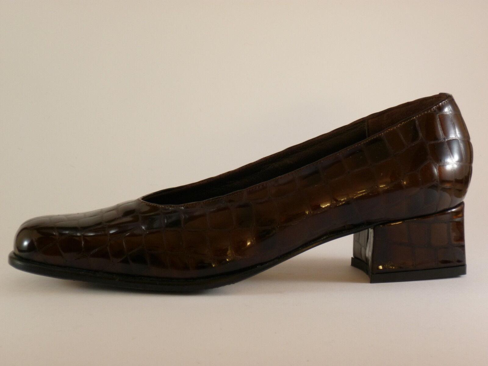Damen CALAFIORE NEU Pumps Braun Leder Lack 37 36 Schuhe
