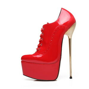 Giaro Slick HYPNOTIC red shiny ankle platform boots