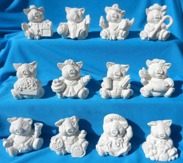 12 MONTH CALENDAR PIGS CERAMIC BISQUE BIRTHDAY U-PAINT MONTHLY PIG FARM ANIMALS