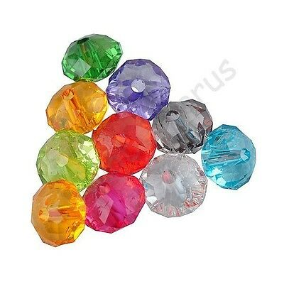 300 Pcs Random Mixed Acrylic Spacer Loose Beads Jewelry Charms Findings 6x4mm