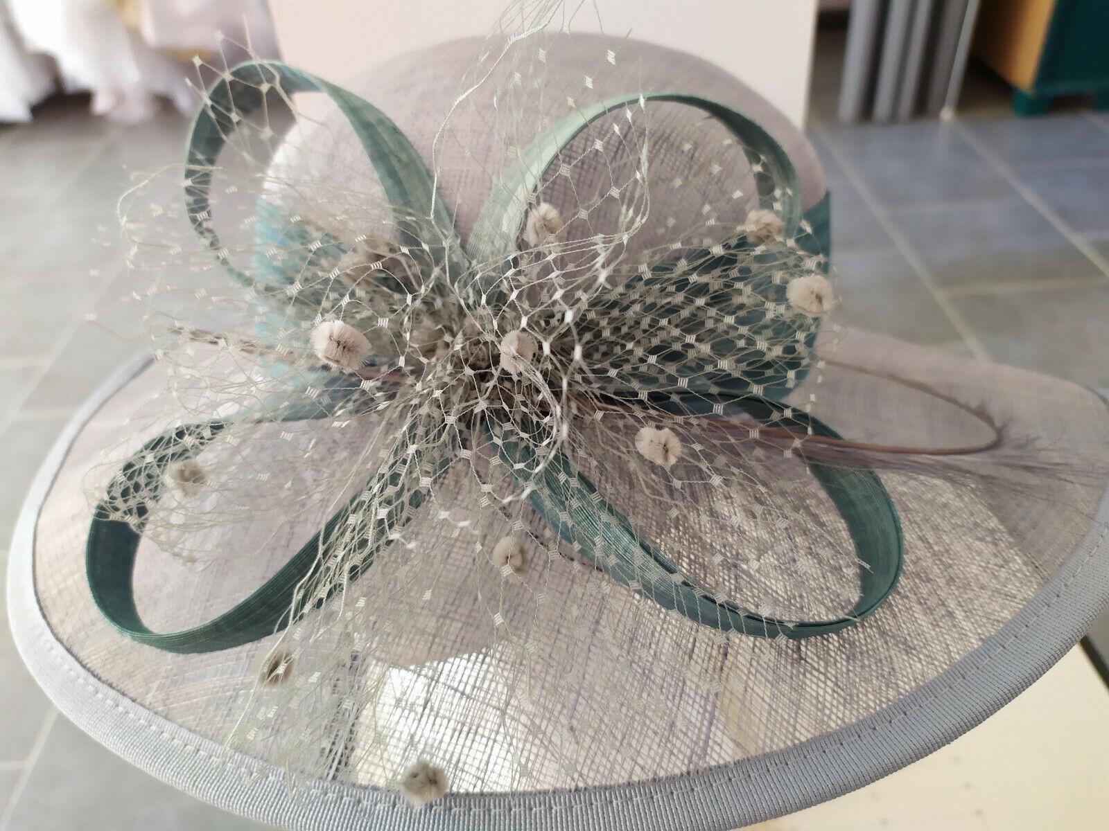Wedding hat straw/ceremony grey colours: