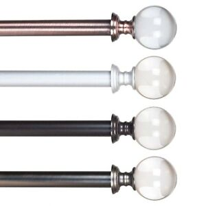 Crystal-Ball-Metal-Grommet-Curtain-Rod-48-to-86-Inches-Choice-of-Color
