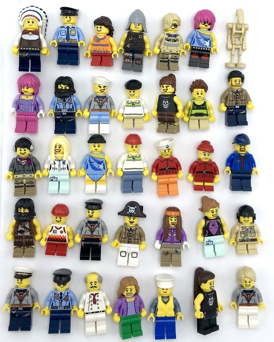 LEGO 50 NEW LEGO MINIFIGURES TOWN CITY SERIES BOY GIRL TOWN PEOPLE GRAB BAG