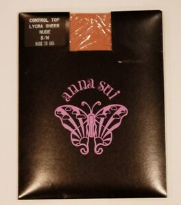 ANNA-SUI-Hosiery-PANTYHOSE-Lycra-CONTROL-TOP-Sheer-NUDE-S-M-Free-Shipping