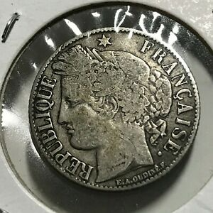 1894-A-FRANCE-SILVER-ONE-FRANCS-NICE-COIN