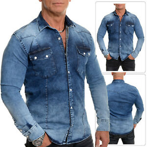 Mens-Classic-Western-Heavy-Denim-Jean-Shirt-Superb-Quality-Stud-Pearl-Buttons