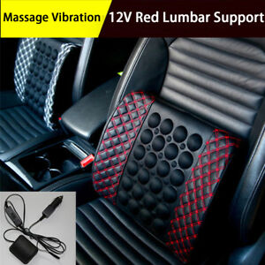 Car-Seat-Back-Lumbar-Support-Massage-Shaking-Cushion-Rest-Pillow-12V-Black-amp-Red