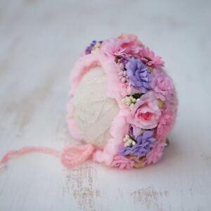 Handmade-Flower-Bonnet-Hat-for-Newborn-Baby-Girl-Photo-Prop-Photography