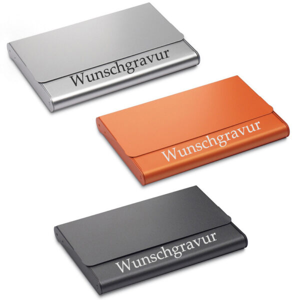 Visitenkarten-etui Aus Aluminium In Schwarz/orange/silber Inkl. Gravur