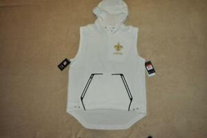 sale retailer 24c7e 58755 Details about New Orleans Saints Nike DRI-FIT Pullover Hoodie Jacket  Sleeveless White NWT