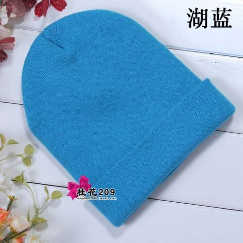 Brand New Quality Hat Cotton Thick Warm Woven Unisex Mens Women Beanie Lake Blue