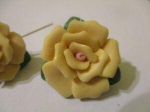 8 Porcelaine Crème 24mm 10 Pétale Rose -feuilles Fleur Perle T14