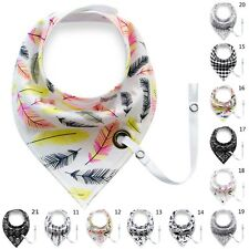 Baby Infant Toddler Triangle Bandana Bib Saliva Towel Head Scarf & Pacifier Clip