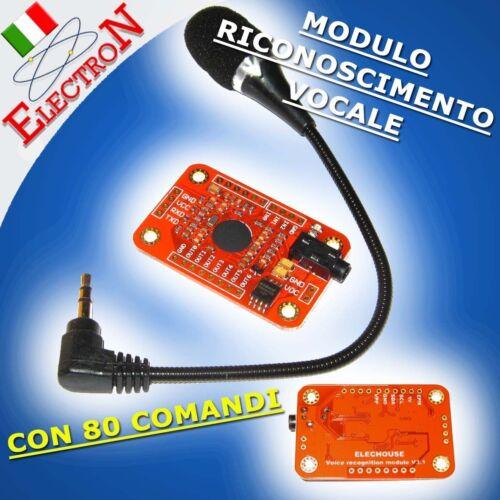 MODULO RICONOSCIMENTO VOCALE 80 COMANDI VOICE SPEECH RECOGNITION ARDUINO COMP.