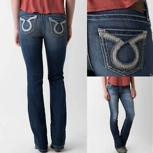 Details about Womens Big Star Vintage Jeans Mid Rise Maddie Omega Curvy Bootcut Stretch 27 28