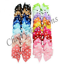 20X Polka Dot Bow Hair Clip Alligator Clips Girls Ribbon Kids Sides Accessories