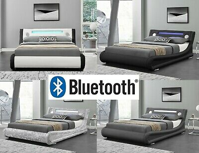 Designer Bluetooth Led Leather Low Bed Frame With Remote Control And Control Panel Featuring Usb And Aux Port Single Double King Size Black 3ft Single Bed Frames