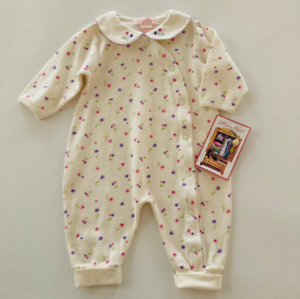Details about  /Vintage Baby Girl 12 Months Floral Thermal Romper Jumpsuit Coveralls Ivory Snaps