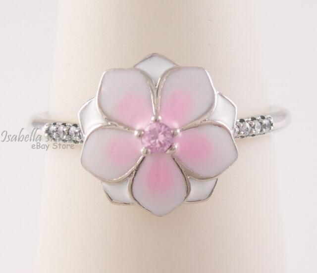 Magnolia Bloom Authentique PANDORA Rose Émail Bague Fleur ...