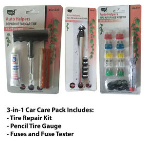 Tire Gauge 3-in-1 Car Care Kit W/fuses And Tire Repair Profit Small Tester Valve Covers