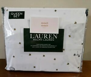 Ralph-Lauren-QUEEN-Sheet-Set-Bees-Beehive-100-Cotton-Black-Yellow-on-White-NEW