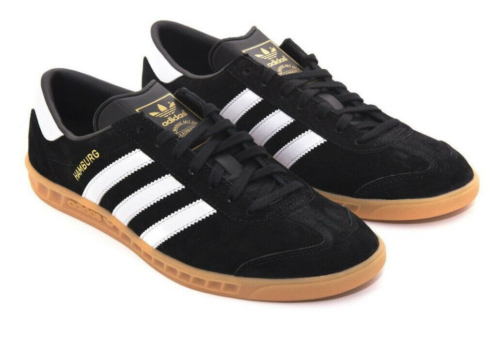 shoes ADIDAS Hamburg Trainers Black White Stripes Suede Gum SoleSize US 12.5