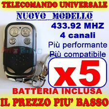 TELECOMANDO UNIVERSALE 433 MHZ CANCELLO 5 GARAGE PER FAAC CAME FADINI br