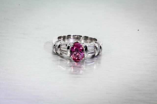 Estate $10,000 2ct NO HEAT Natural Pink Sapphire Diamond Platinum Ring