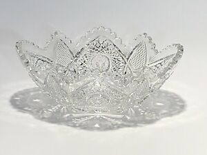 Stunning-Large-Vintage-Crystal-Glass-Candy-Dish-Bowl-With-Fabulous-Ornate