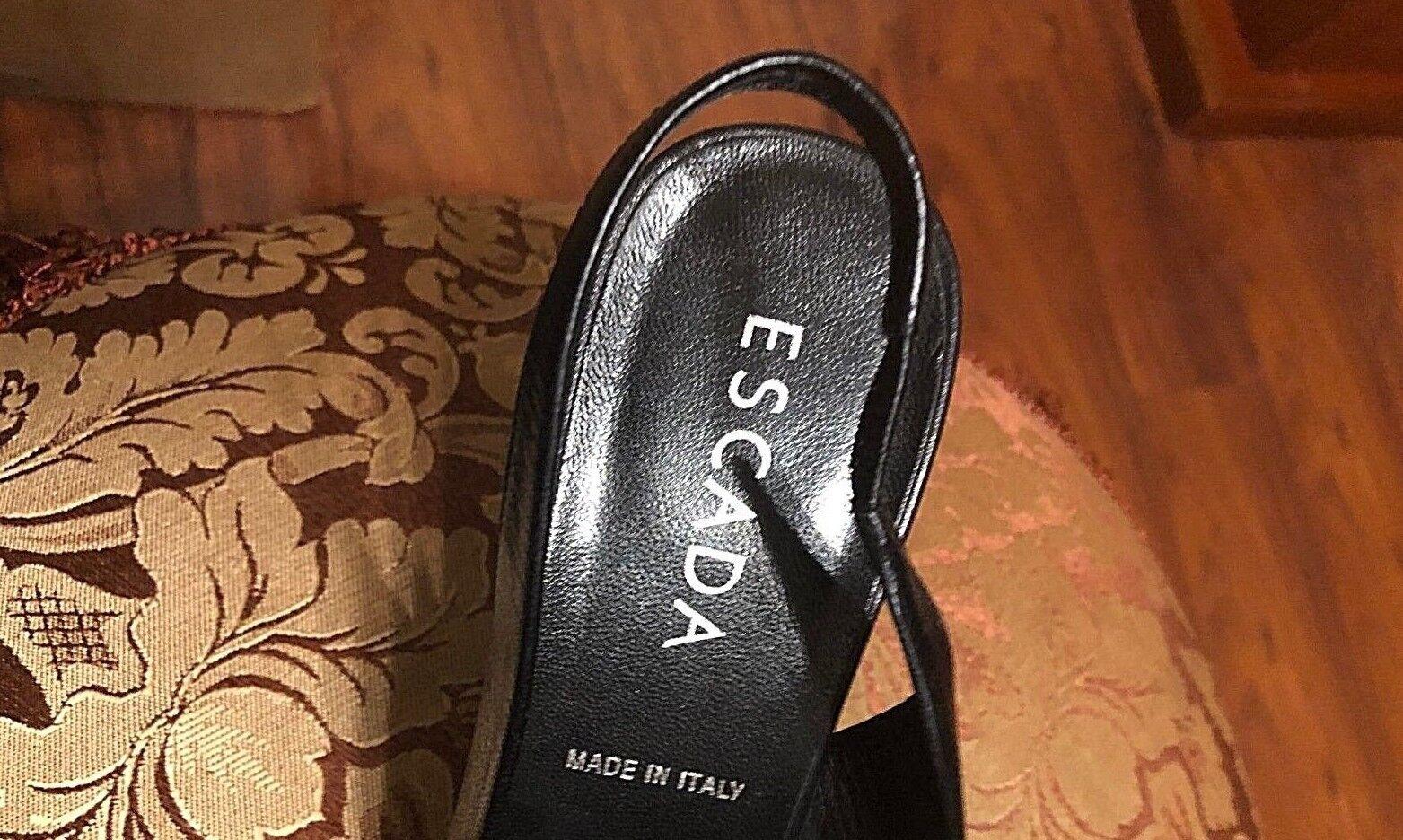 Escada Dedo Del Pie Cuadrado Cuero Cuero Cuero Negro Charol Bombas Nuevo Sin Caja - 37.5 c1e58b