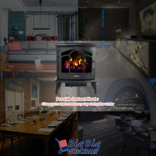 """1400W 20/"""" Freestanding Electric Fireplace Heater Stove LED Adjustable Flame Heat"""